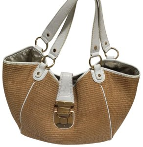 Michael Kors Tote in White patent leather trim/tan woven fabric
