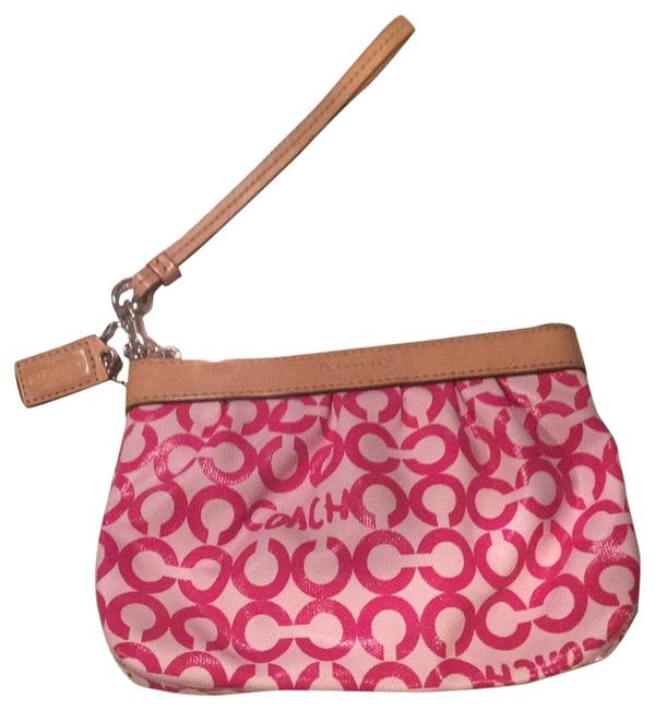 Coach Signature C And Pink White Tan Wristlet Coach Signature C And Pink White Tan Wristlet Image 1