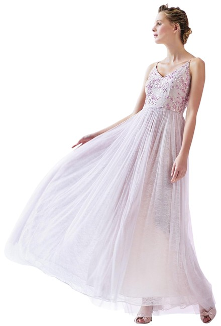 Item - Medium Pink Sequined Embroidered V Neck Lacetulle Gown Long Formal Dress Size 6 (S)