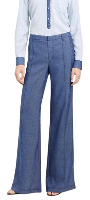 Item - Blue Chambray Pintuck Trousers Pants Size 4 (S, 27)