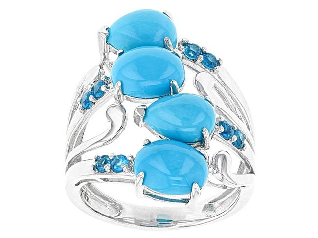 Item - Turquoise Blue Silver Sterling Sleeping Beauty Neon Apatite 9 Ring