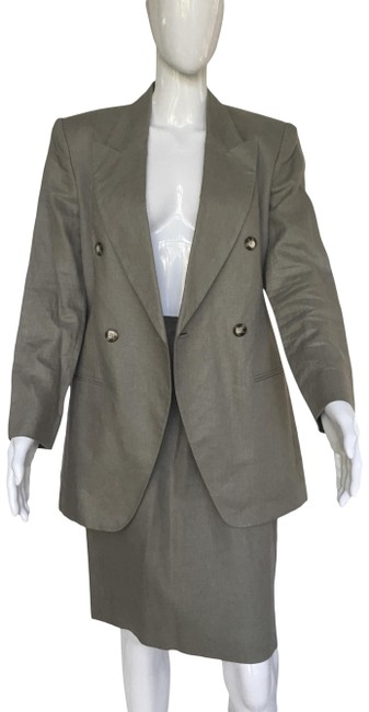 Jones New York Olive Green Linen Skirt Suit Size 8 (M) Jones New York Olive Green Linen Skirt Suit Size 8 (M) Image 1