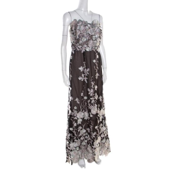 Black Maxi Dress by Marchesa Notte Floral Embroidered Image 1