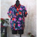 Ella Moss Navy Silk Floral V Neck Small Blouse Size 4 (S) Ella Moss Navy Silk Floral V Neck Small Blouse Size 4 (S) Image 3
