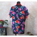 Ella Moss Navy Silk Floral V Neck Small Blouse Size 4 (S) Ella Moss Navy Silk Floral V Neck Small Blouse Size 4 (S) Image 4