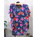 Ella Moss Navy Silk Floral V Neck Small Blouse Size 4 (S) Ella Moss Navy Silk Floral V Neck Small Blouse Size 4 (S) Image 5
