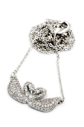 Ocean Fashion Sterling silver double swan necklace Image 1