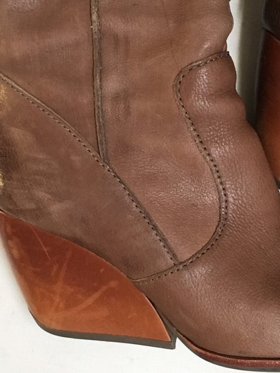 Kork-Ease Leather Wooden Wedge Riding Tan Boots Image 1