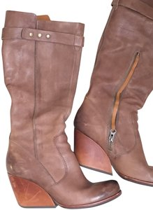 Kork-Ease Leather Wooden Wedge Riding Tan Boots