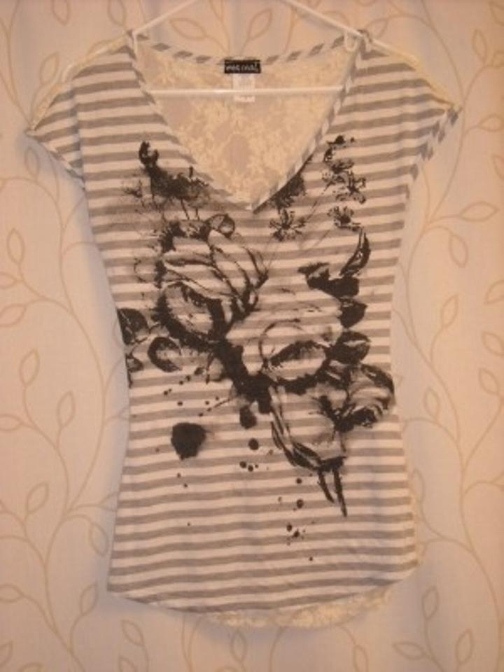 Wet Seal Black White Lace Tee Shirt Size 6 S Tradesy
