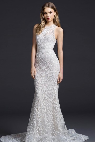 Lazaro Ivory 50% Cotton and 50% Acetate Embroidered Chiffon Trumpet Gown Formal Wedding Dress Size 4 (S) Image 2