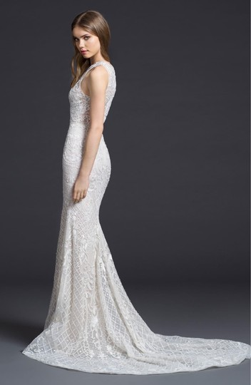 Lazaro Ivory 50% Cotton and 50% Acetate Embroidered Chiffon Trumpet Gown Formal Wedding Dress Size 4 (S) Image 3