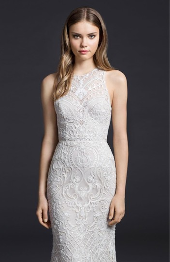 Lazaro Ivory 50% Cotton and 50% Acetate Embroidered Chiffon Trumpet Gown Formal Wedding Dress Size 4 (S) Image 4