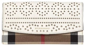 Burberry Check & Perforated Flap Wallet