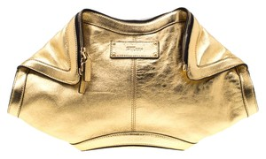 Alexander McQueen Leather Metallic Gold Clutch
