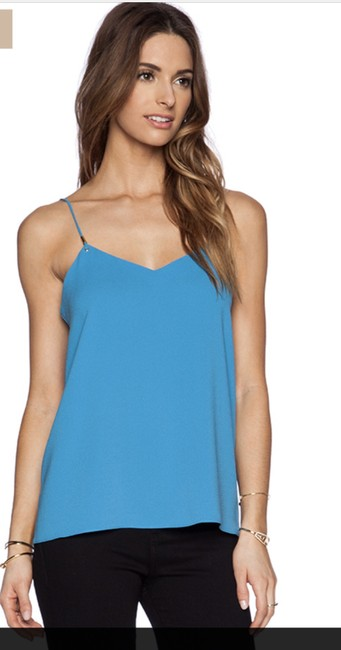 Tibi Summer Camisole Gold Hardware Night Out Comfortable Top Captain Blue Image 2