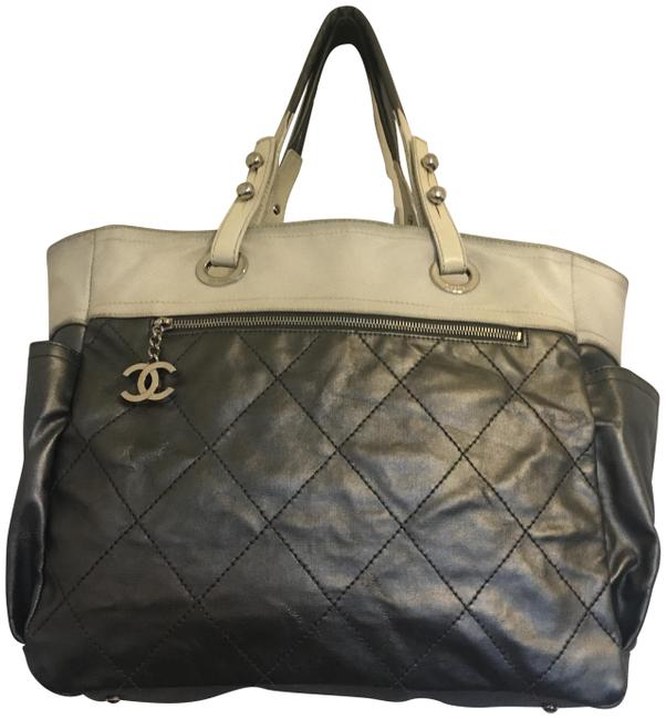 Chanel Shopping Barritz Paris Silver White Coated Canvas Leather Handle Tote Chanel Shopping Barritz Paris Silver White Coated Canvas Leather Handle Tote Image 1