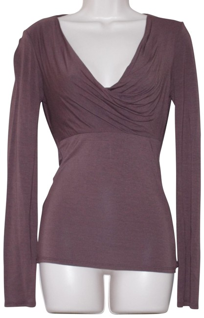 Item - Rayon Blend Long Sleeve Open Back Brown Top