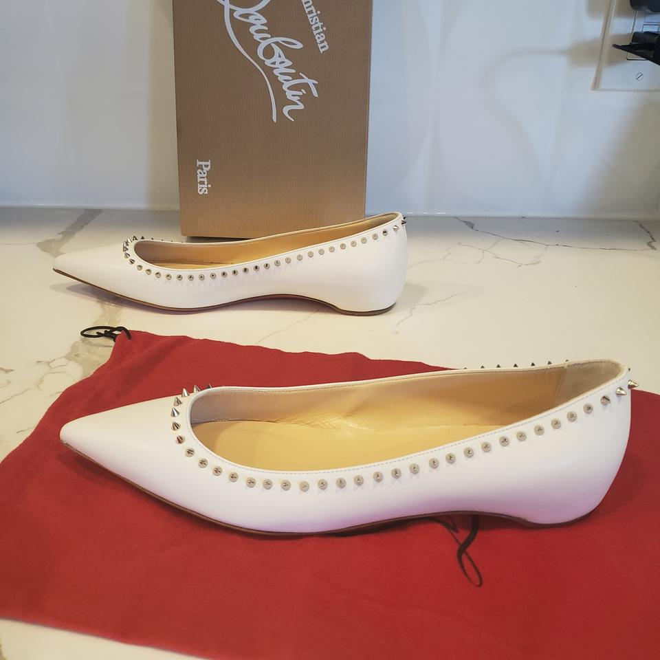 a1fd5c0bc15 Christian Louboutin Snow (White) Anjalina Spiked Studded Leather Ballerina  Ballet Flats Size EU 39 (Approx. US 9) Regular (M, B) 24% off retail