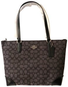 Coach Signature Leather Tote in Grey/Black