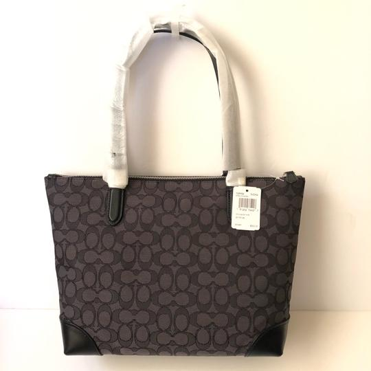 Coach Signature Leather Tote in Grey/Black Image 1