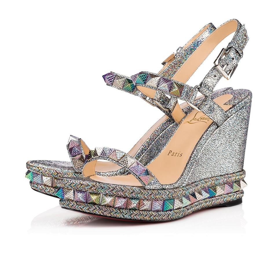pick up da144 ca23e Christian Louboutin Silver Pyraclou 110 Mica Spiked Studded Wedge Heel  Sandals Platforms Size EU 37 (Approx. US 7) Regular (M, B) 18% off retail