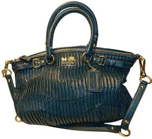 Coach New Leather Leather Shoulder Exotic Leather Limited Edition Satchel in Turqouise Blue/Gold