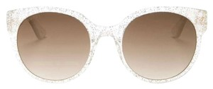 Gucci Authentic GUCCI 54mm silver glitter clear Acetate Round Adjustable sunglasses
