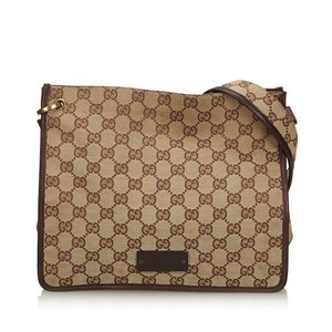 Gucci 9ggucx013 Vintage Canvas Leather Cross Body Bag