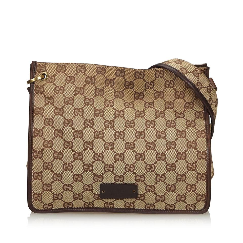c8621a647 Gucci Fabric Gg Italy Dust Medium Brown Canvas Leather Cross Body ...