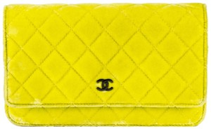 Chanel Woc Wallet On A Chain Velvet Lime Neon Green Cross Body Bag