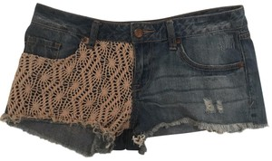 American Rag Cut Off Shorts blue jean shorts with beige detail