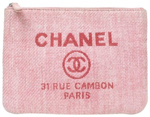 Chanel Pink Denim Cosmetic O-Case Zip Pouch 870897