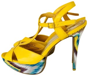 Anne Michelle Yellow Aztec Platforms