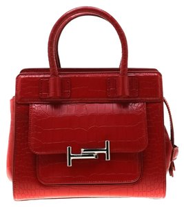 Tod's Leather Suede Tote in Red