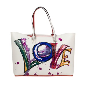 Christian Louboutin Leather Spike Logo Calfskin Paris Tote in White