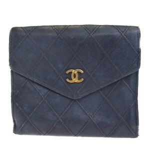 Chanel Authentic CHANEL CC Quilted Bifold Wallet Purse Leather Black France