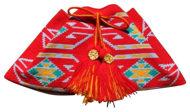 In Aztec Print Red Wool Clutch In Aztec Print Red Wool Clutch Image 1