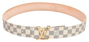 Louis Vuitton Beige blue leather Louis Vuitton Damier Azur LV buckle belt