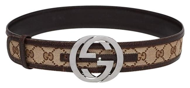 Gucci Brown Tan Gg Web Canvas Belt Gucci Brown Tan Gg Web Canvas Belt Image 1