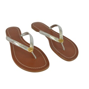 Tory Burch Terra Thong Metallic Silver Sandals