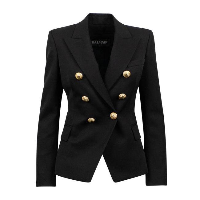 Black Wool Double Breasted Blazer by Balmain