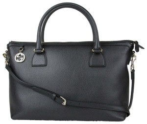 Gucci Leather Gg Charm Convertible Satchel in Black