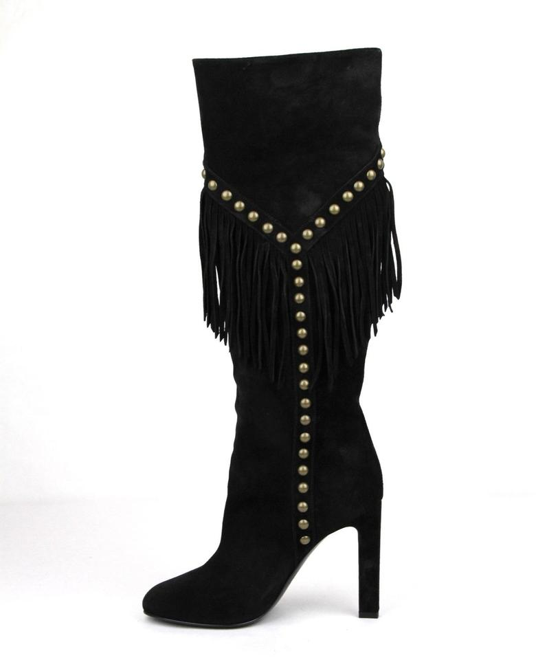 6f23b5e4a37 Saint Laurent Black Suede Grace 105 Y Studded Fringed 35/Us 5 447507 Boots/ Booties