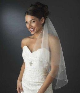Elegance By Carbonneau White Rhinestone Two Layer Bridal Veil