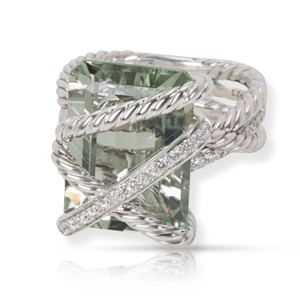 David Yurman David Yurman Prasiolite and Diamond Cable Wrap Ring in Sterling Silver