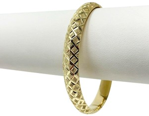 Other 14k Yellow Gold Etched Diamond Cut Fancy Bangle Bracelet 7 Inches