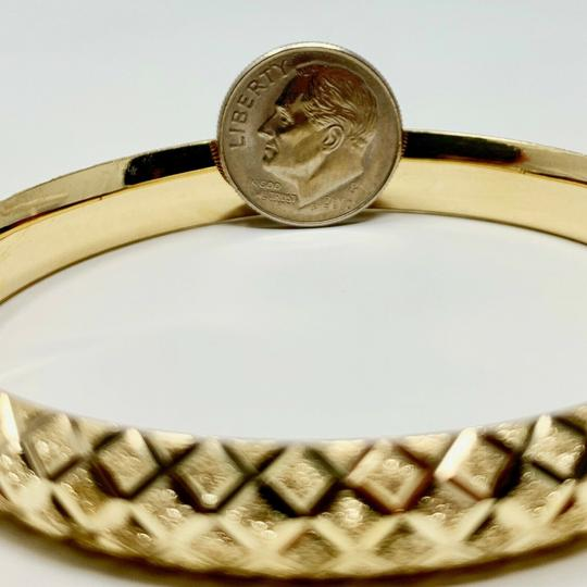 Other 14k Yellow Gold Etched Diamond Cut Fancy Bangle Bracelet 7 Inches Image 5