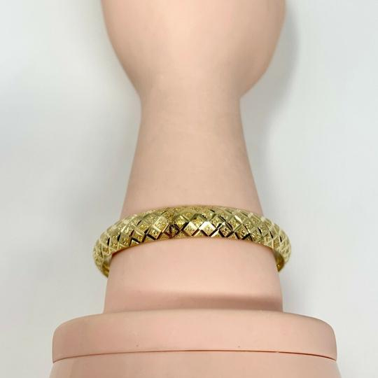 Other 14k Yellow Gold Etched Diamond Cut Fancy Bangle Bracelet 7 Inches Image 6