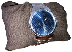 Gucci G-Timeless Large Blue Diamond Pattern Dial Stainless Steel Men's Watch